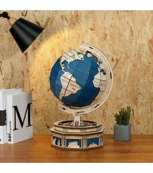 Robotime 2020 New arrival 3d Globe Puzzle Earth Puzzles Round Planets Adults Wooden Diy Stem Toys